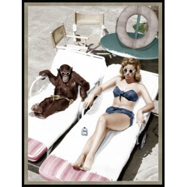 Lady and chimpanzee 1950's glass wall art