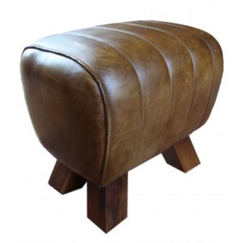 Leather stool/ foot stool/side stool pommel horse style wooden feet