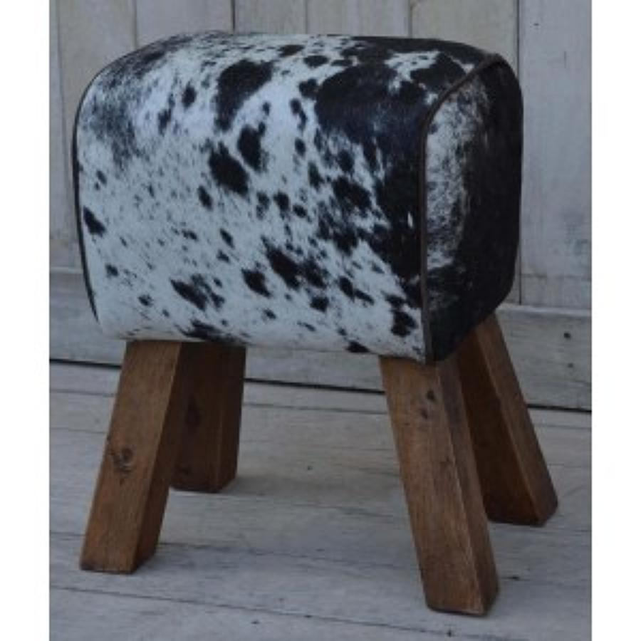 Cowhide stool pommel horse style with wooden legs