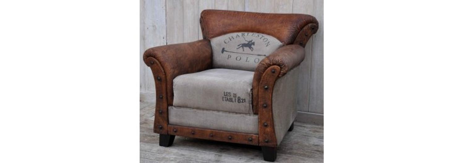 Vintage style armchair leather and canvas