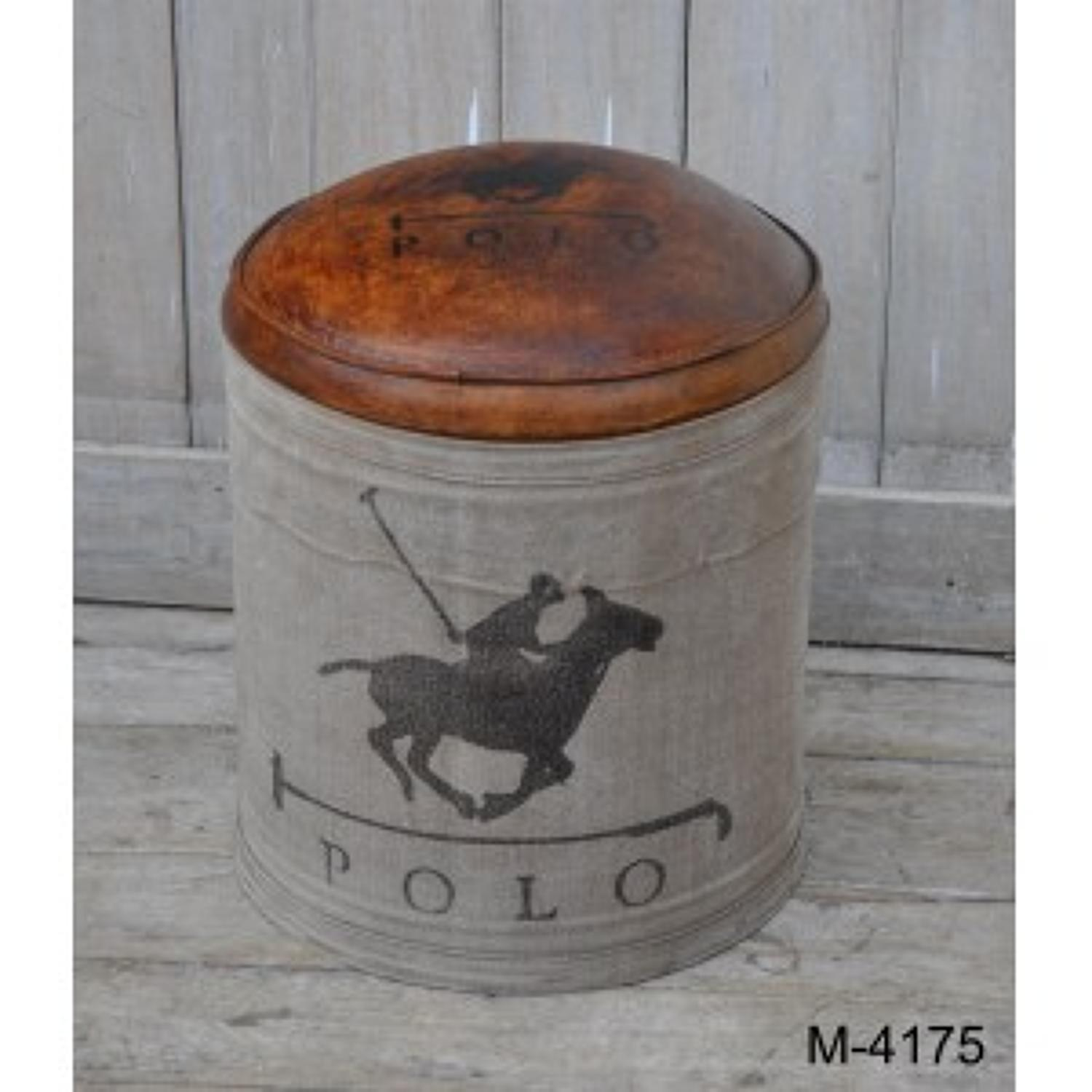 Leather and canvas stool