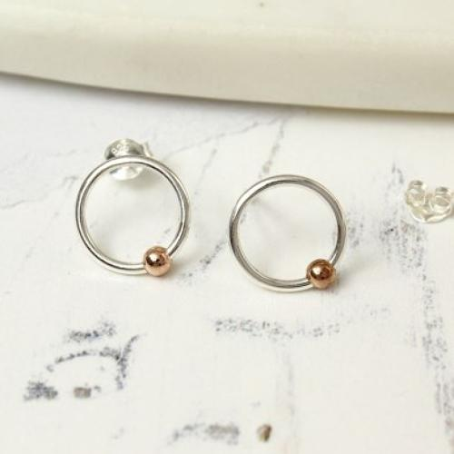 Sterling Silver silver hoops with rose gold ball stud