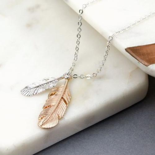 Silver and Gold plated feathers necklace