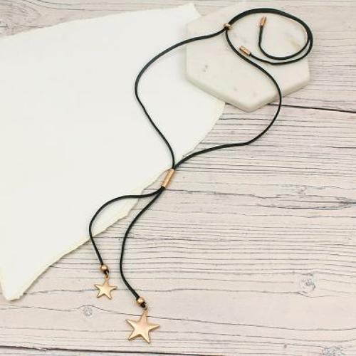 Matt Gold/Dark grey double star necklace