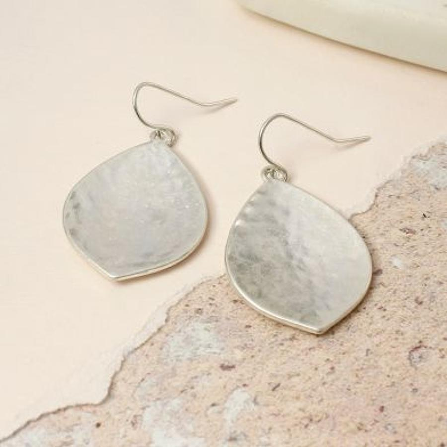 Worn silver hammered leaf earrings