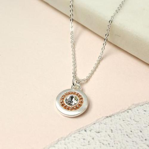 Silver plated disc gold rolled beads crstal necklace