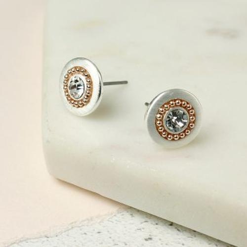 Silver plated disc gold rolled beads crystal earings