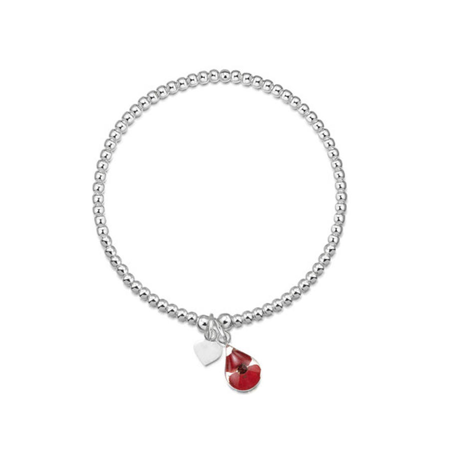 Sterling silver bead bracelet with real poppy - single strand