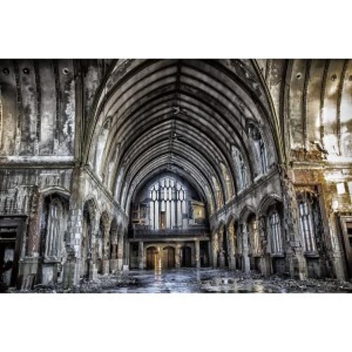 Abandoned Church tempered glass wall-art 80cm x 120cm
