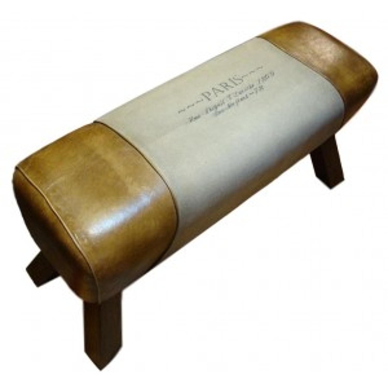 Leather & canvas bench pommel horse style Paris print 88cm length