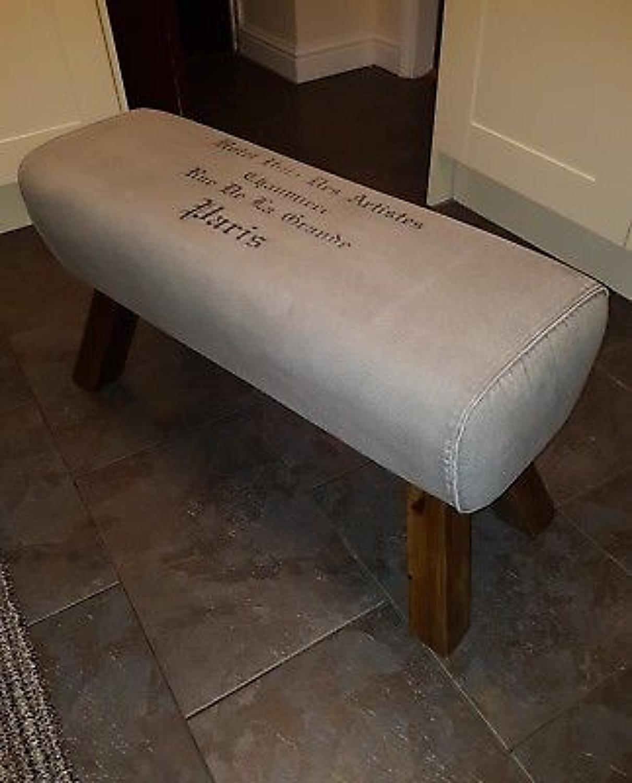 Canvas bench pommel horse style Paris print 88cm length