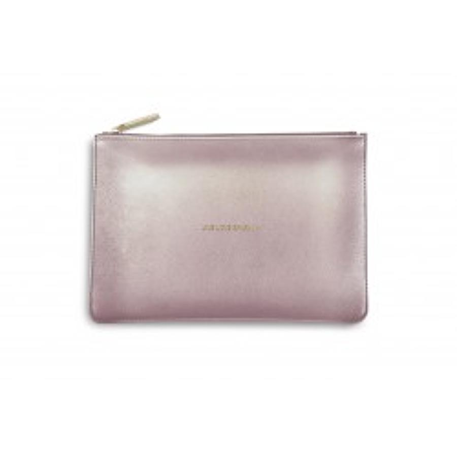 Katie Loxton - Perfect Pouch - Live Love Sparkle - Metallic Pink