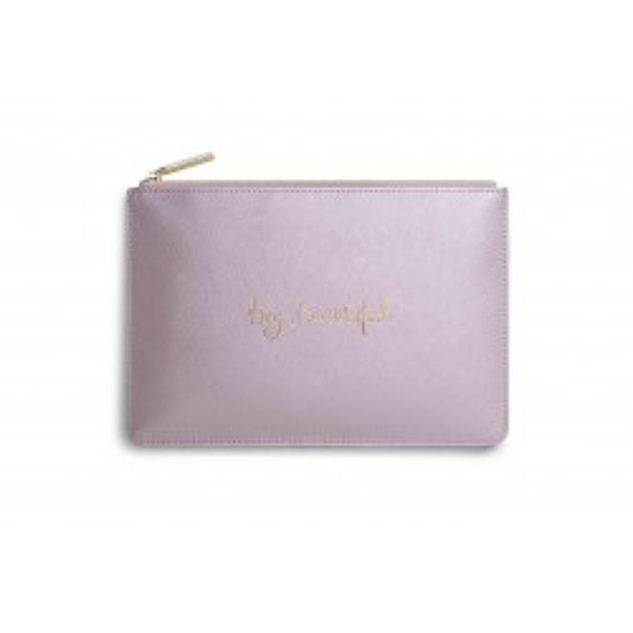 Katie Loxton -Perfect Pouch -Hey Beautiful - Metallic Pink