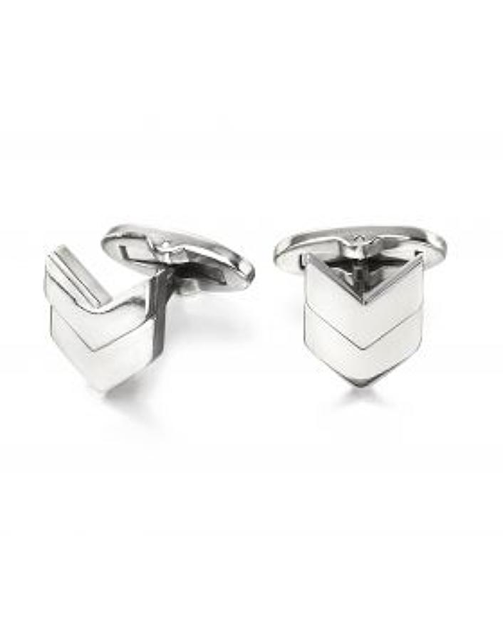 Fred Bennett - Stainless steel chevron cufflinks