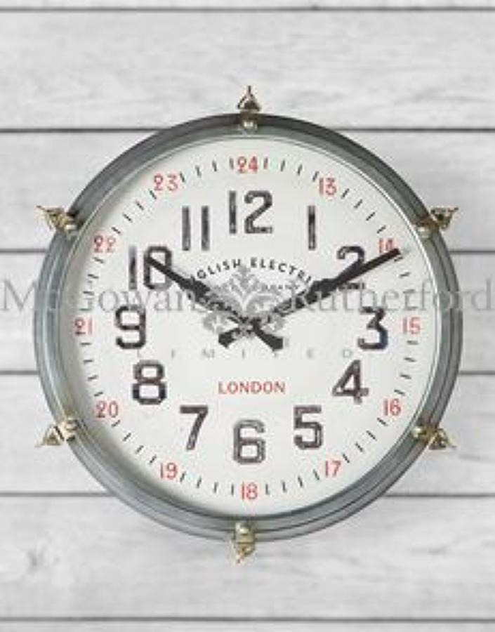 Round industrial Station stule Wall Clock