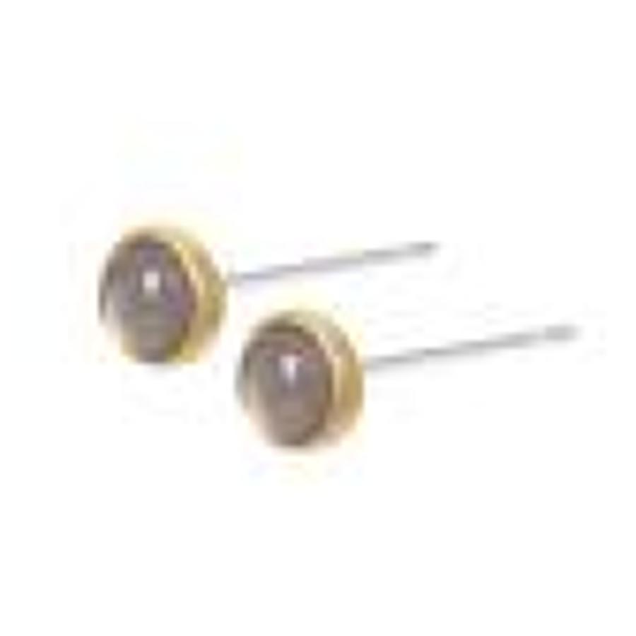 Sence  - Essenntials earstuds grey Agate matt gold