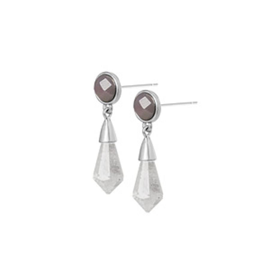 Sence - Poem earings clear crystal Gr. Agate matt silver