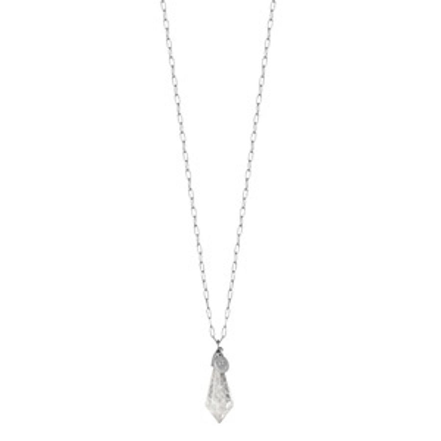 Sence - Poem necklace clear crystal mattsilver 95 cm