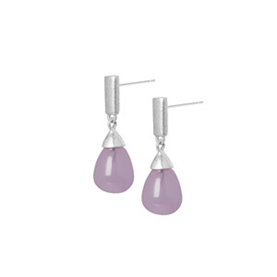 Sence - Calligraphy earrings Lavender jade matt silver