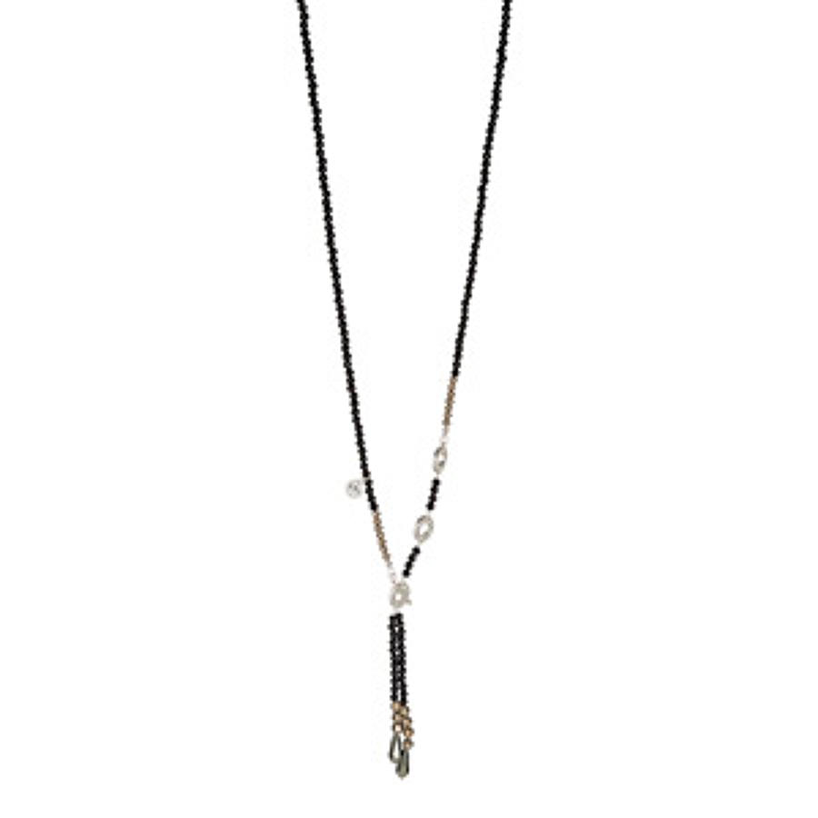 Sence - Laughter necklace Black Agate matt silver 80 cm
