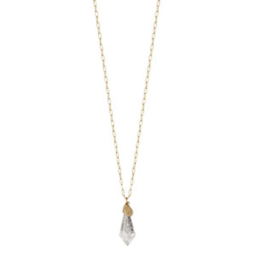 Sence - Poem necklace clear crystal matt gold 95 cm