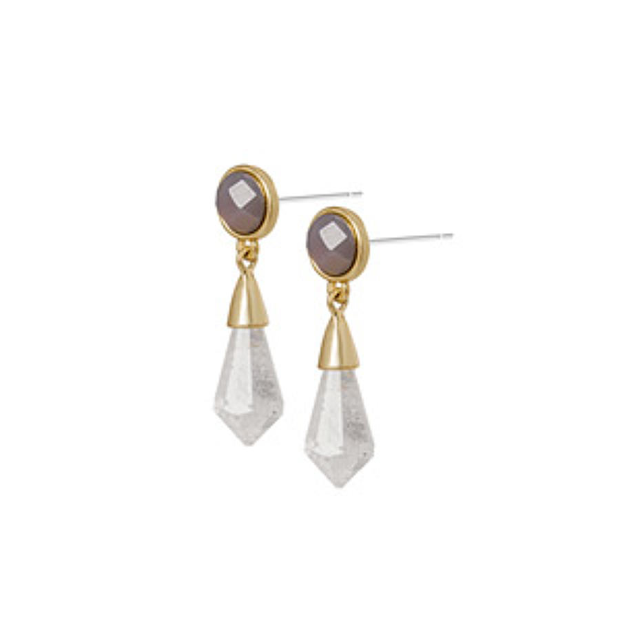 Sence - Poem earrings clear crystal matt gold  16 mm