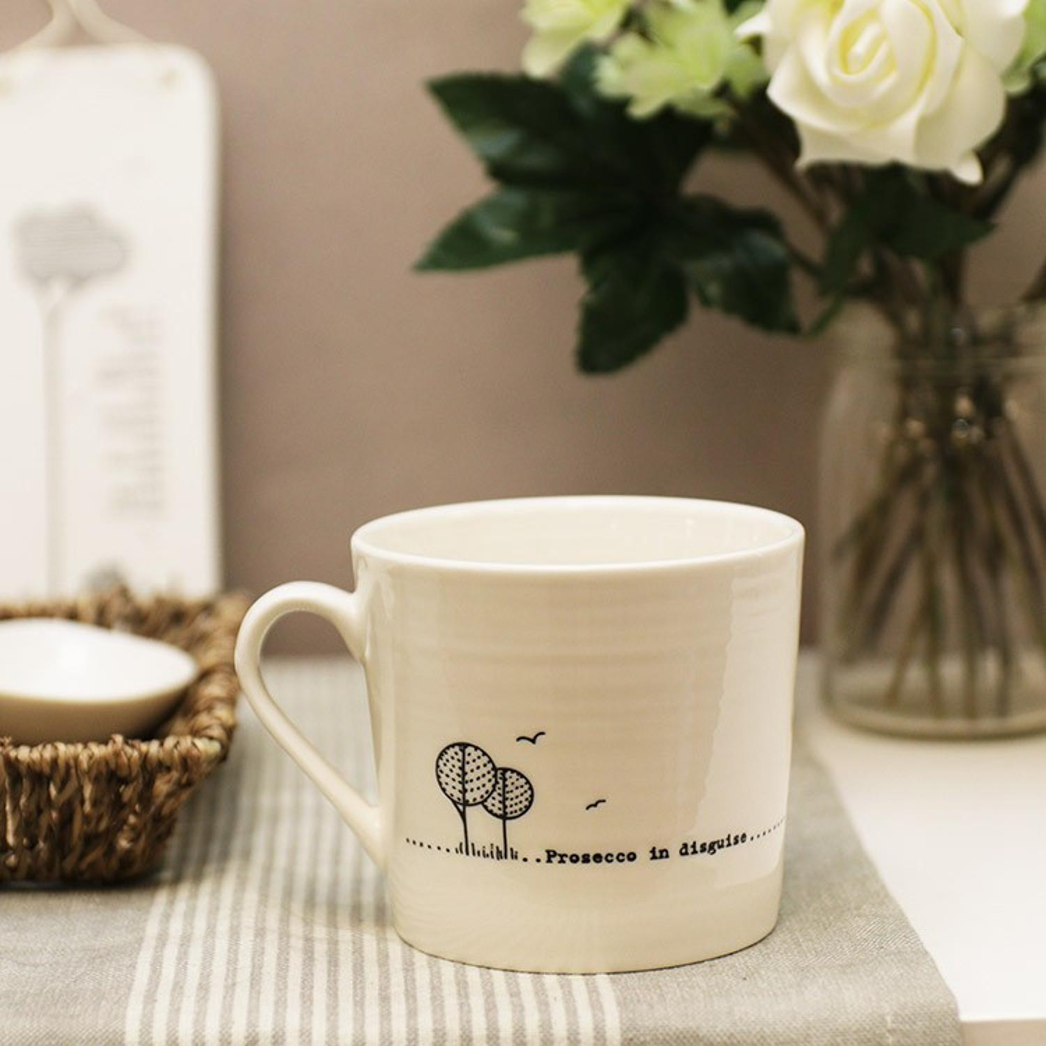 East of India - Boxed porcelain wobbly mugs - prosecco in disguise