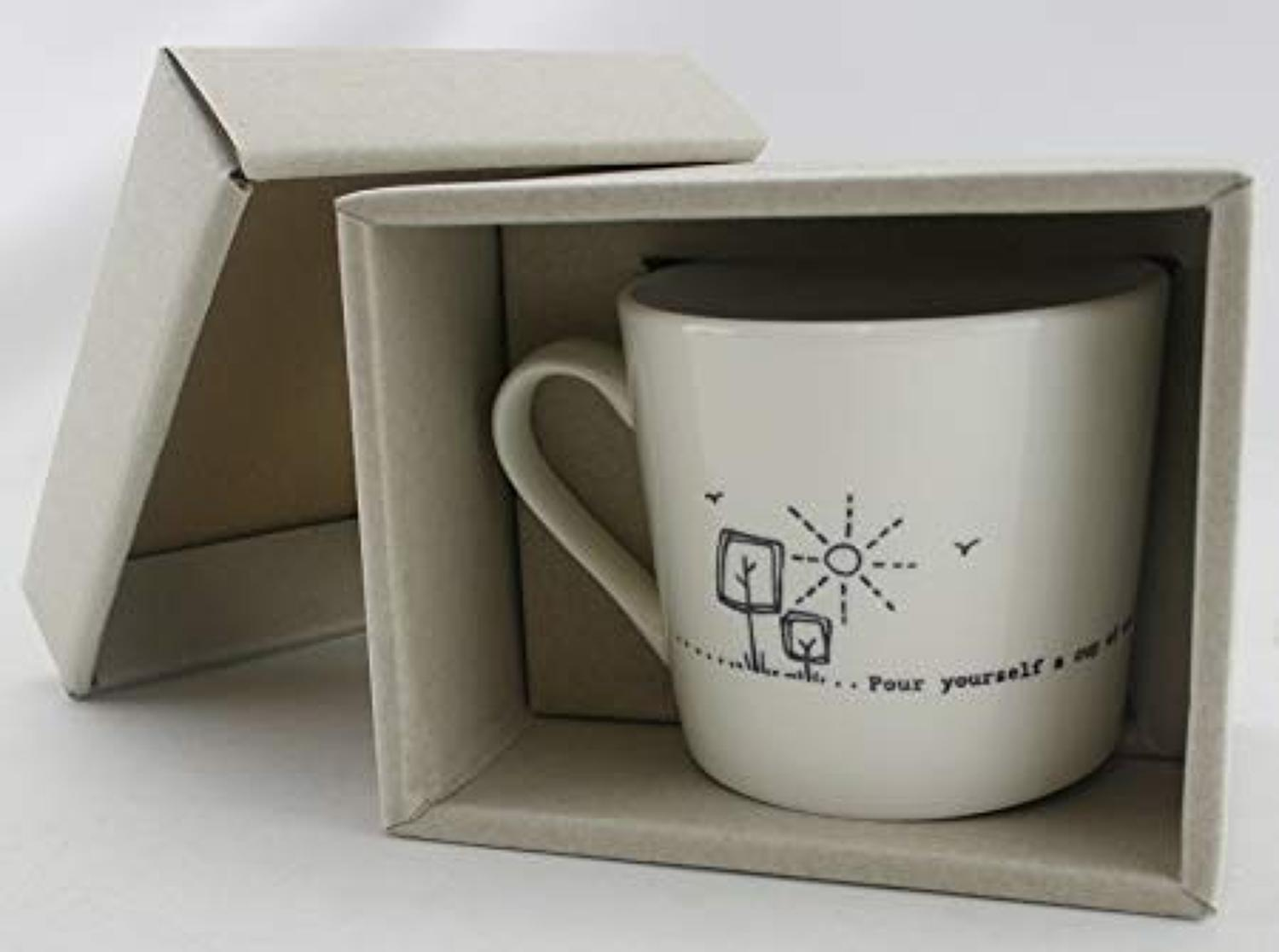 East of India - Boxed porcelain wobbly mugs - pour yourself a cup of a