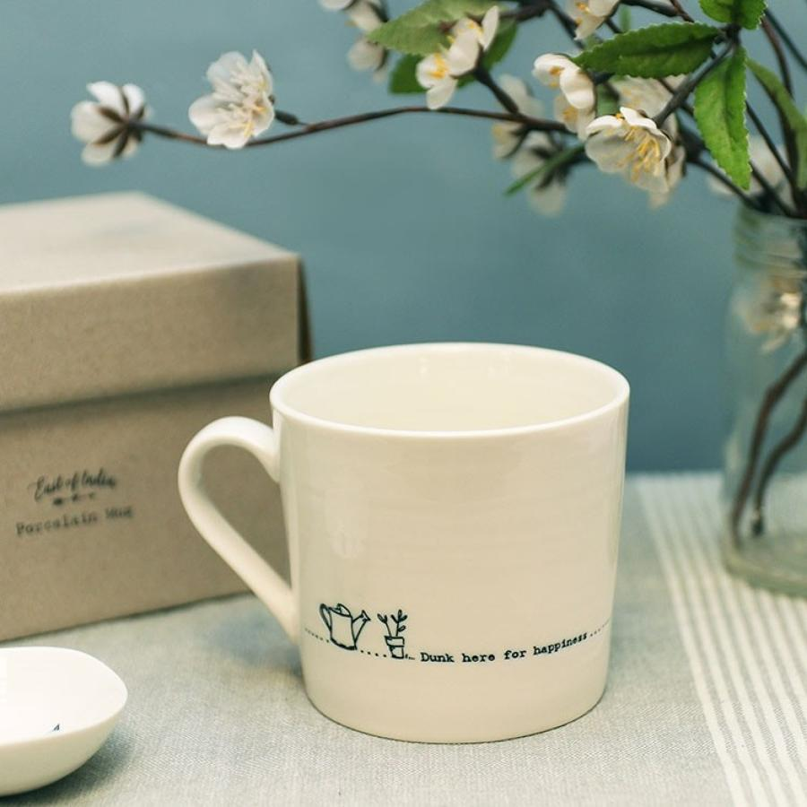 East of India - Boxed porcelain wobbly mugs - Dunk here for happiness