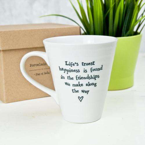 East of India - Boxed porcelain mug - Life's truest happiness'