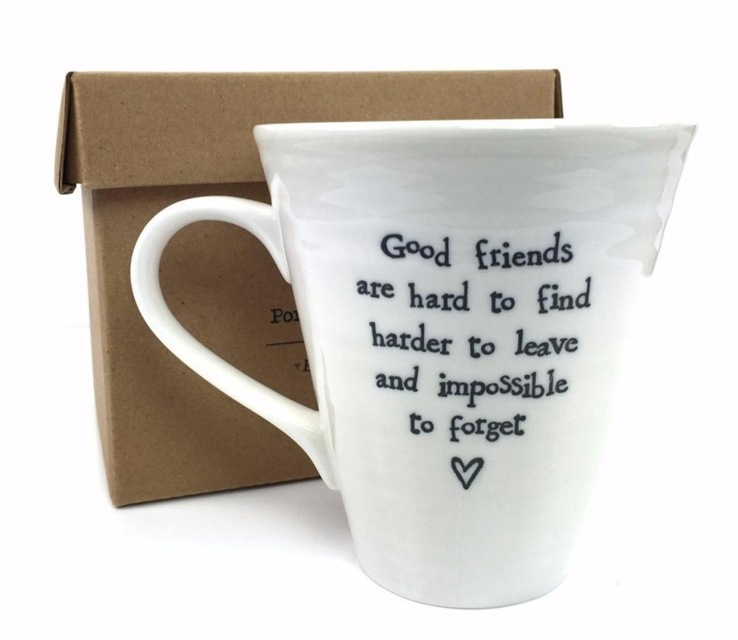 East of India - Boxed porcelain mug - Good friends are hard to find