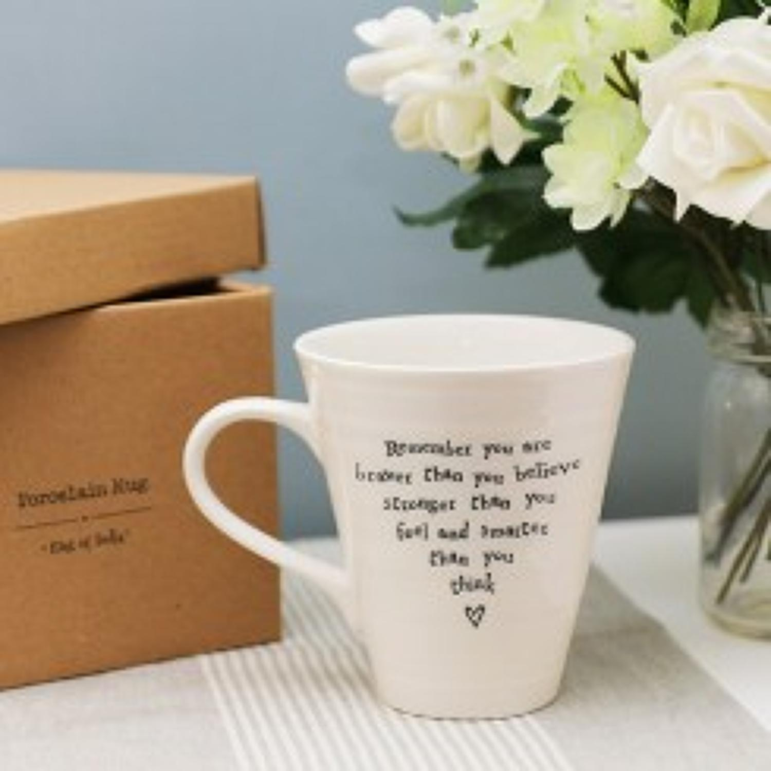 East of India - Boxed porcelain mug - Remember you are braver than you