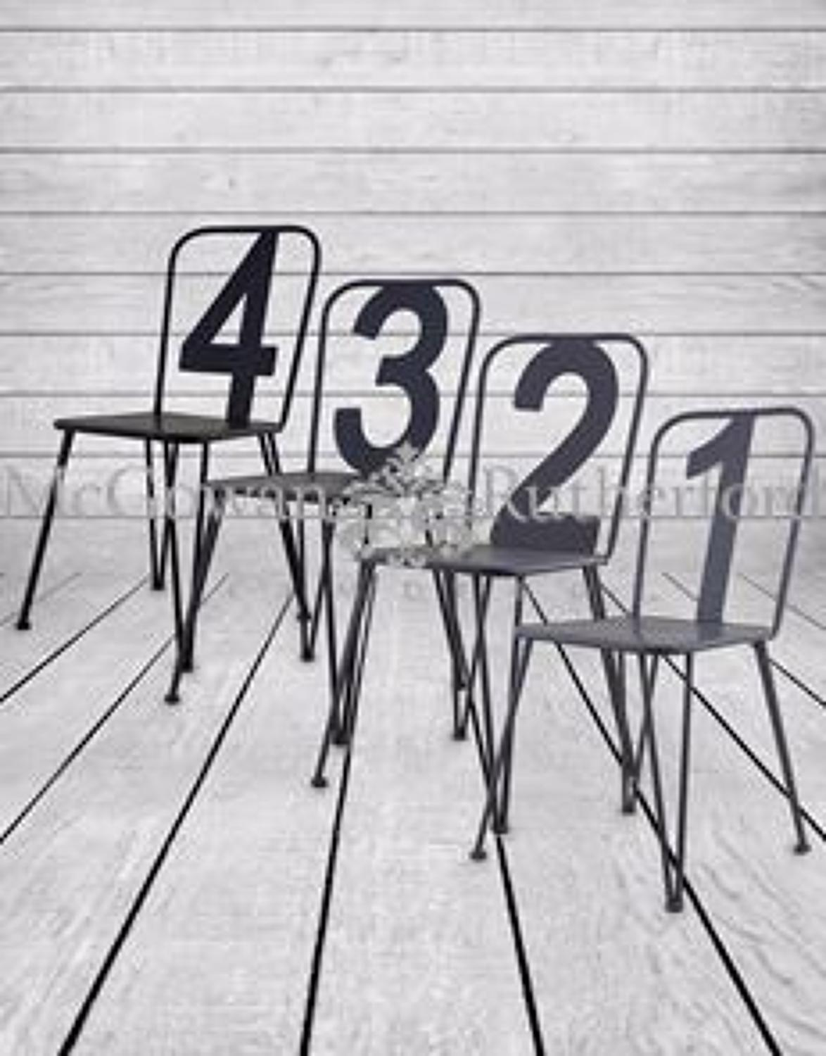 Set of 4 assorted grey numbers metal chairs