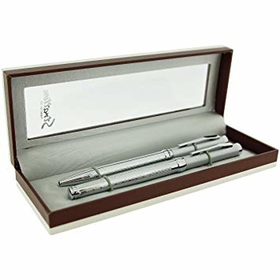 Stratton boxed ball point & ball point pen set - two tone silver