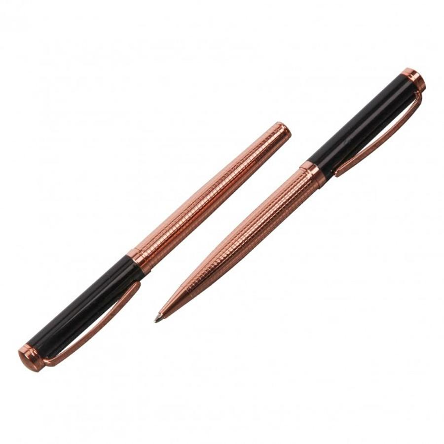 Stratton ball point & roller ball pen - Black & rose gold