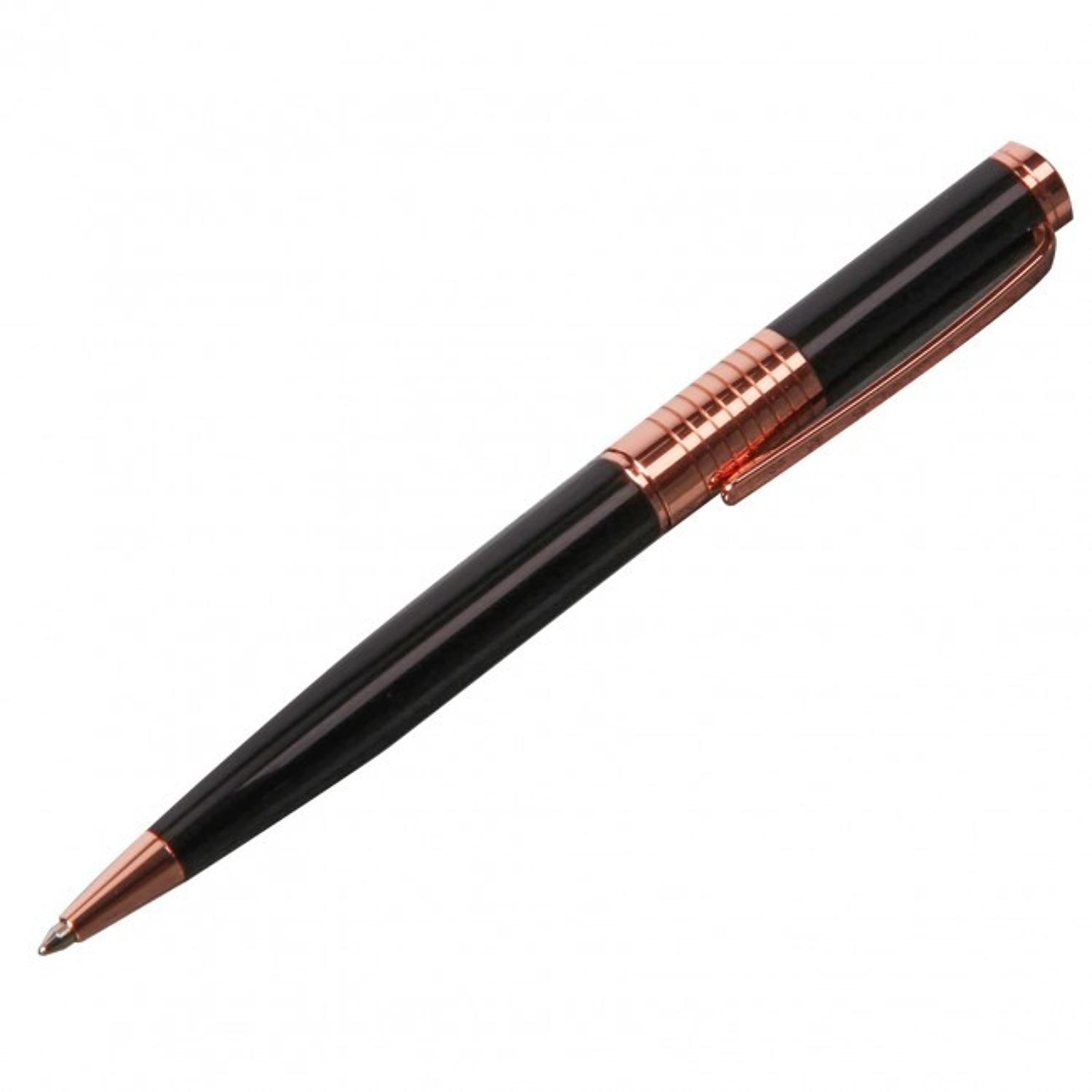 Stratton boxed ball point pen - Black & rose gold