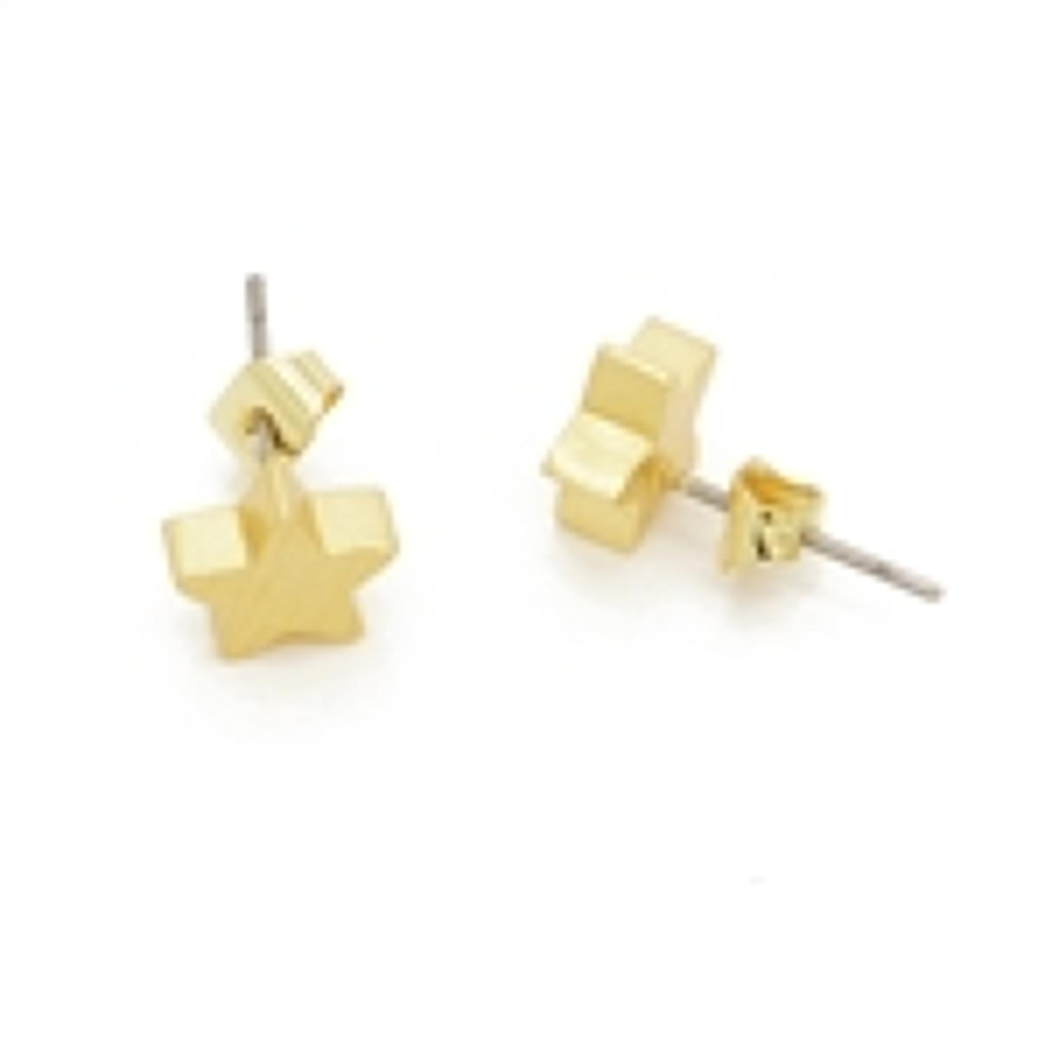 White Leaf - small star earrings in 20k matt gold plate