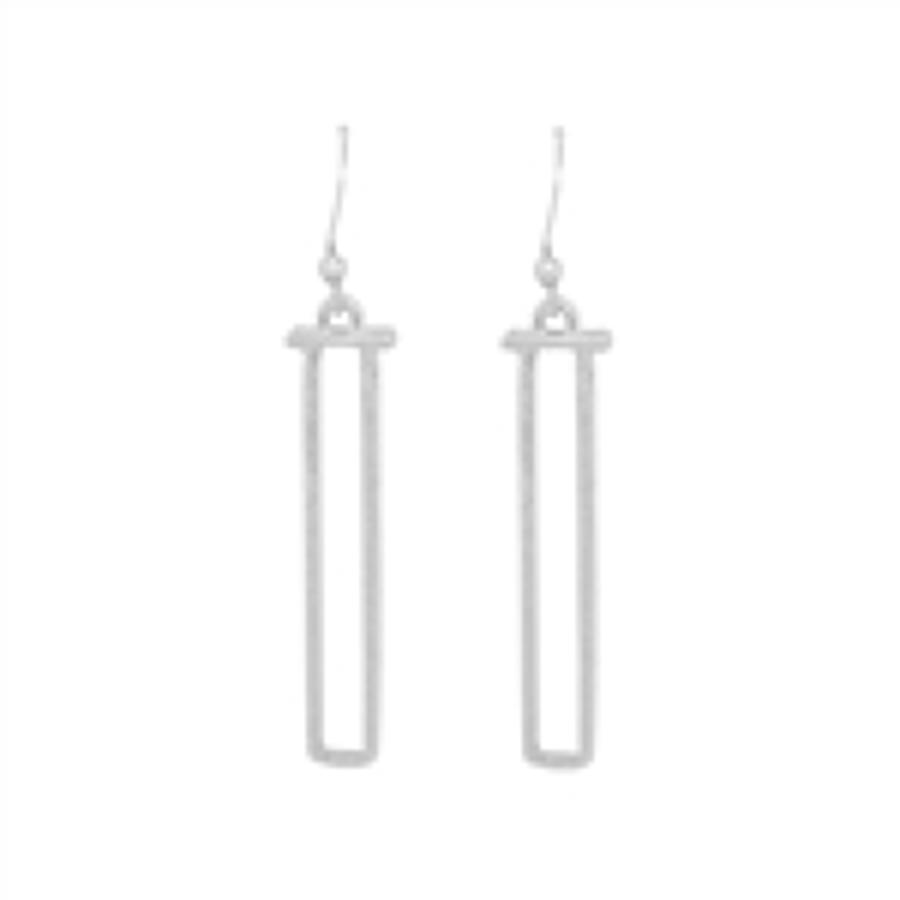 White Leaf - Long rectangle earrings in brush silver finish