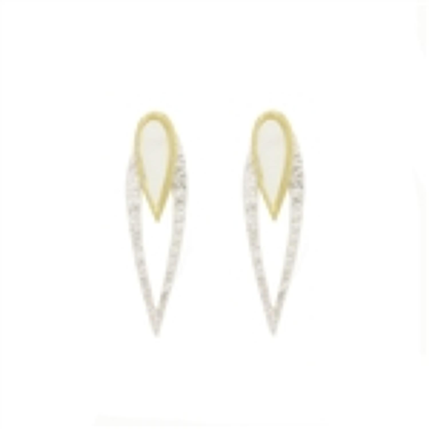 White Leaf - Twin 2 tone earrings with mother of pearl brush silver fi