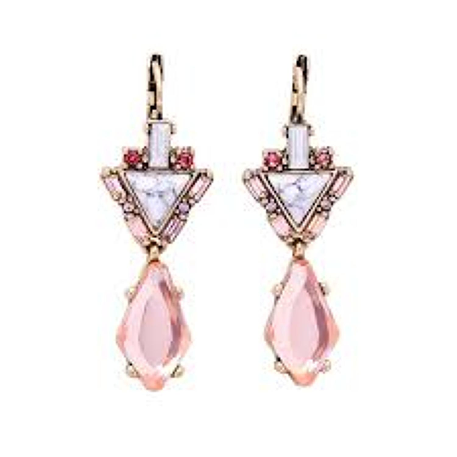 White Leaf - Marble and pink gems in antique gold finish