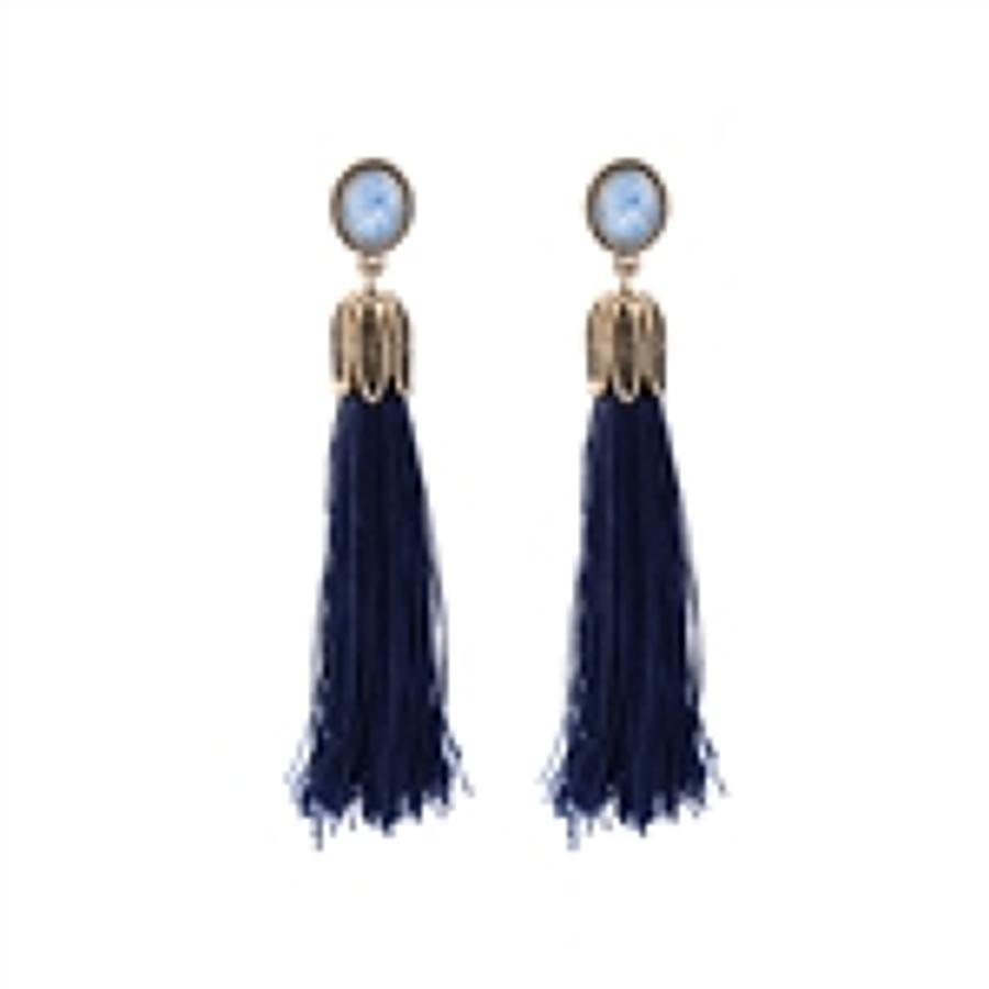 White Leaf - Tassle earrings with blue gem in antique gold finish
