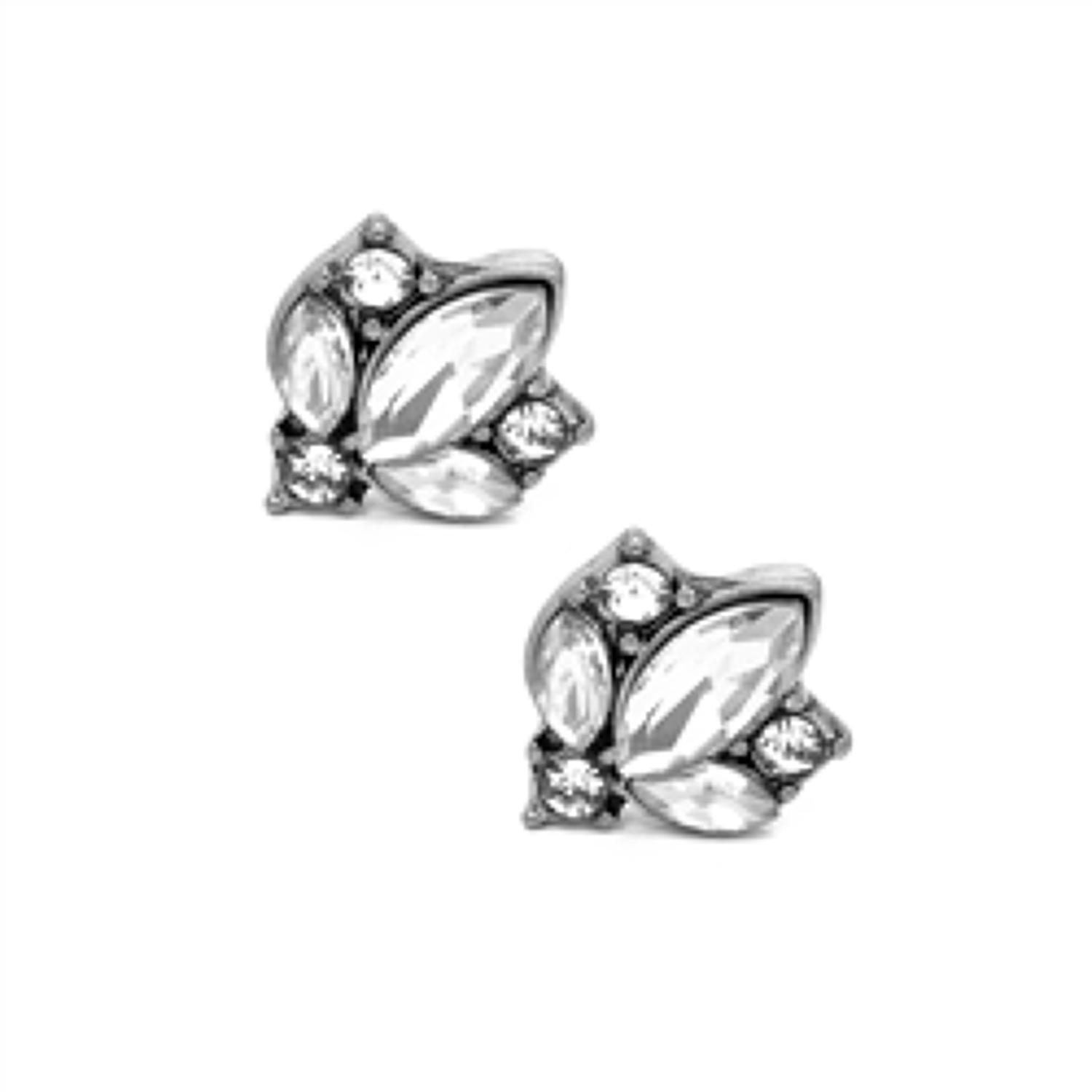 White Leaf - Crystal cluster clear antique silver finish earrings
