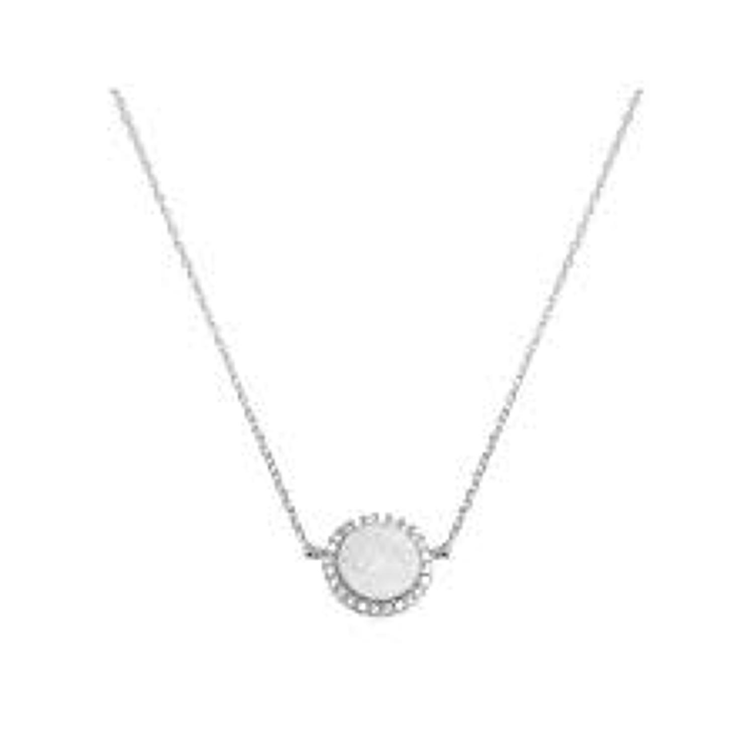 White Leaf - Crystal disc sparkle necklace in matt silver plate