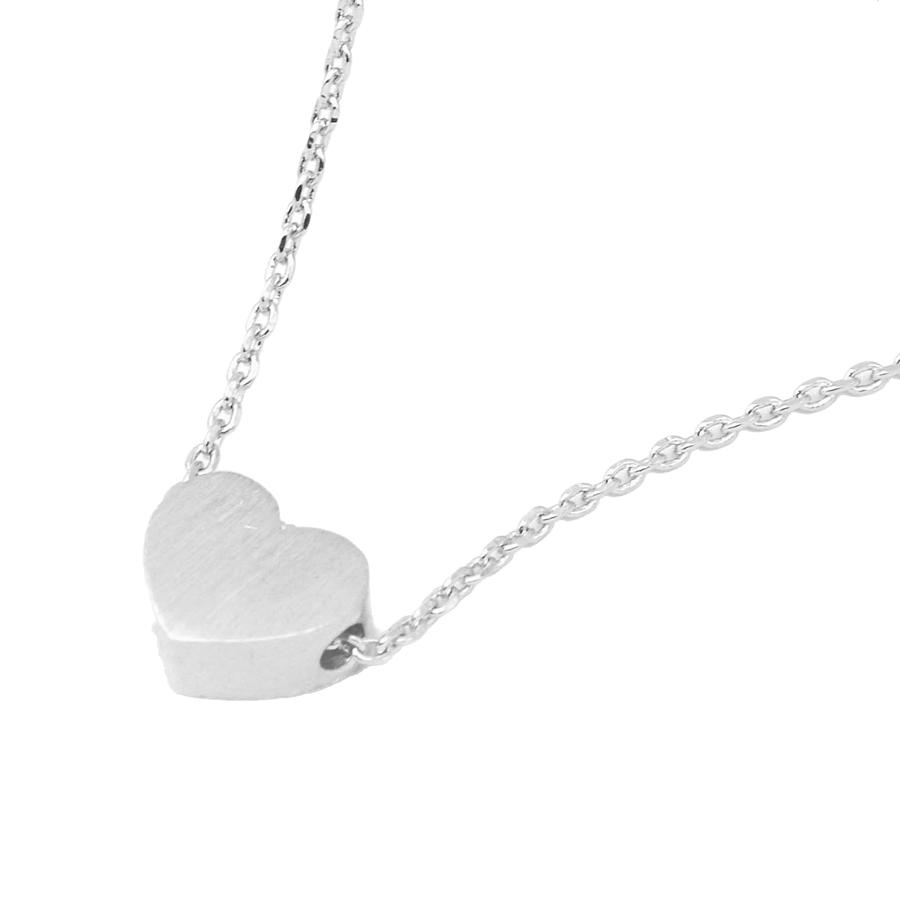 White Leaf - Small heart necklace silver plate