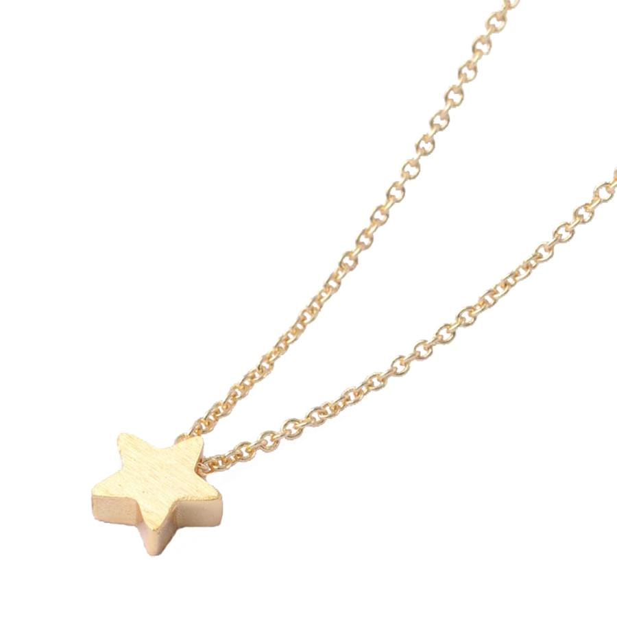 White Leaf - Small star necklace in 20 k matt gold plate