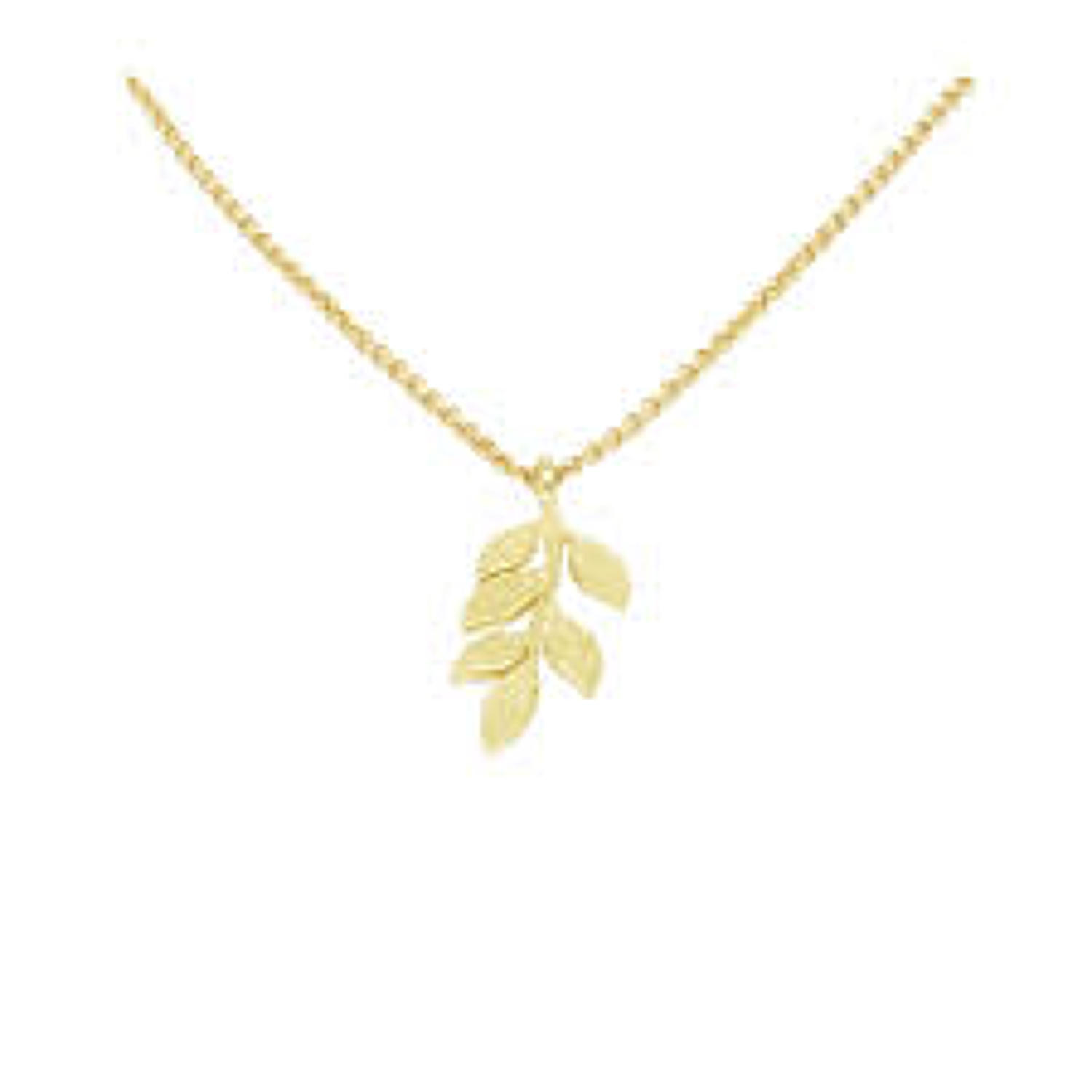 White Leaf - Simple leaves necklace brushed gold finish