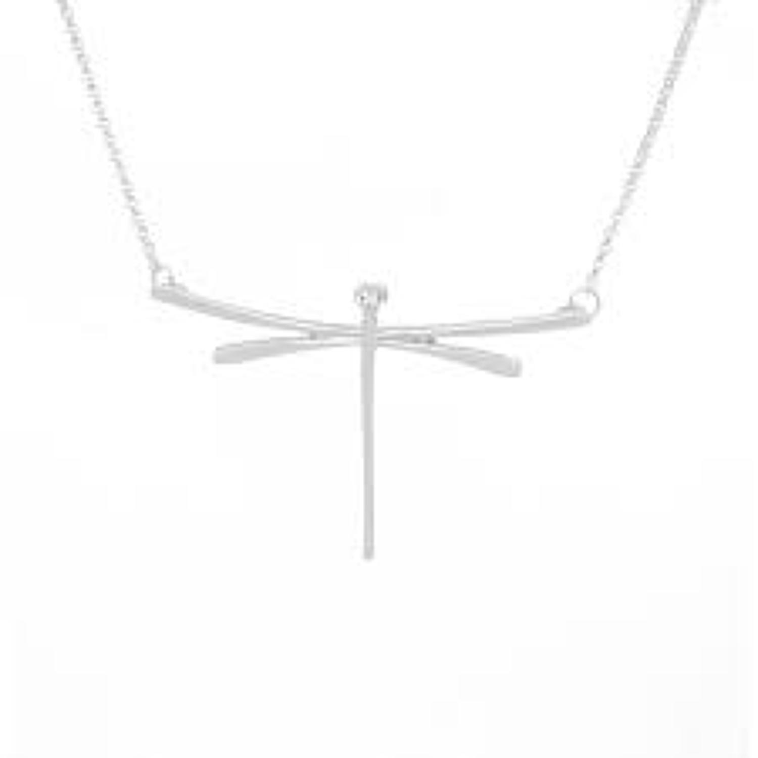 White Leaf - Contemporary dragonfly necklace brush silver