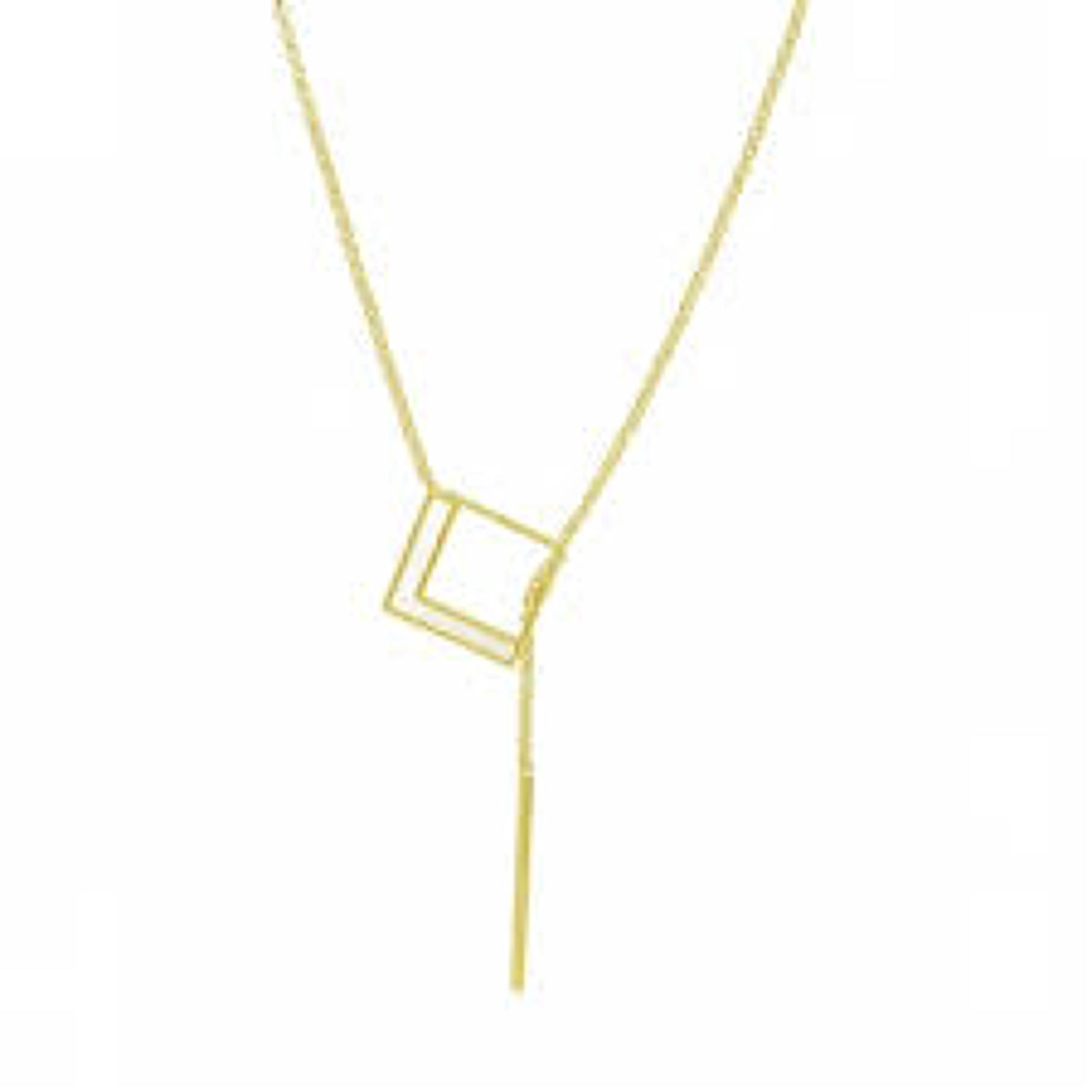 White Leaf - Geo square necklace brush gold with mother of pearl