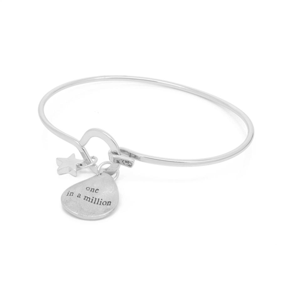 White Leaf - One in a million bangle matt 20k brush silver