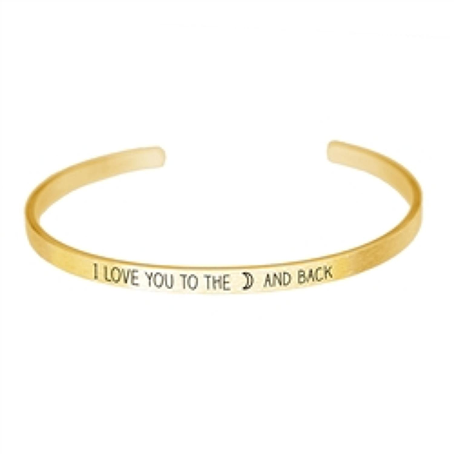 White Leaf - Love you to the moon and back gold finish bangle